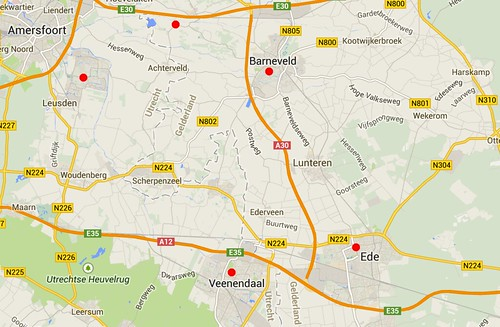 Locaties Karper Sterfte, met rode stip