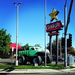 Monster truck drivers gotta eat too I guess #holycrap #monstertruck #tagsforlikes #truck #fastfood #carlsjr #instacool #instagood #picoftheday #photooftheday #all_shots #like4like #likeforlike #bestoftheday
