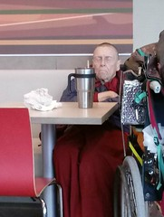 Old Man Napping at McDonalds