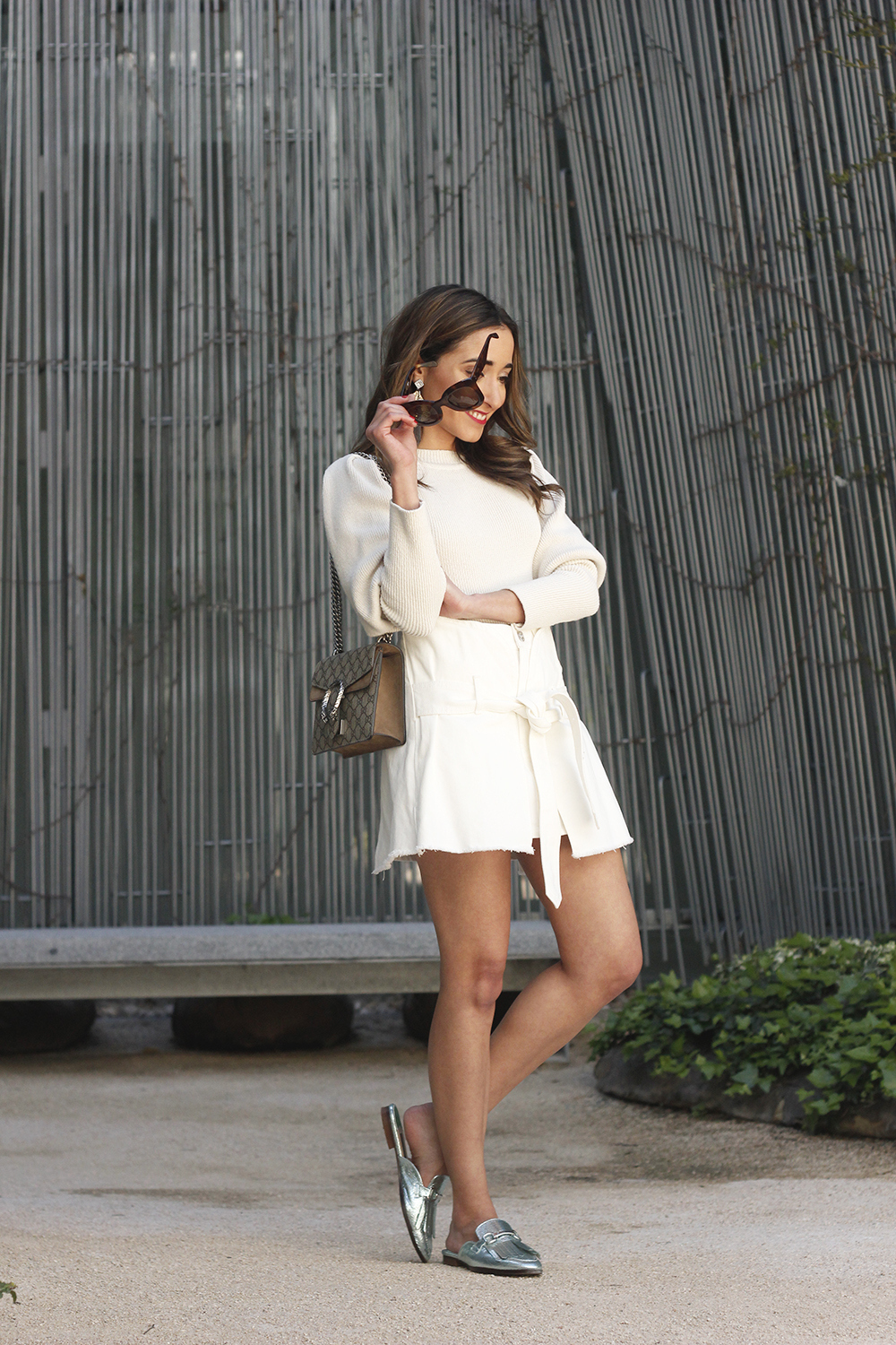 White skirt white sweater blue light mules uterqüe gucci bag céline sunnies spring outfit style outfit05