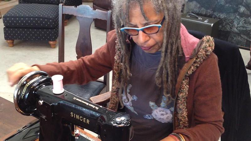 Marita test sews with Ruby's 201k hand crank sewing machine