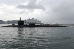 USS Michigan (SSGN 727) arrives in Busan, April 25. (U.S. Navy/MC2 Jermaine Ralliford)