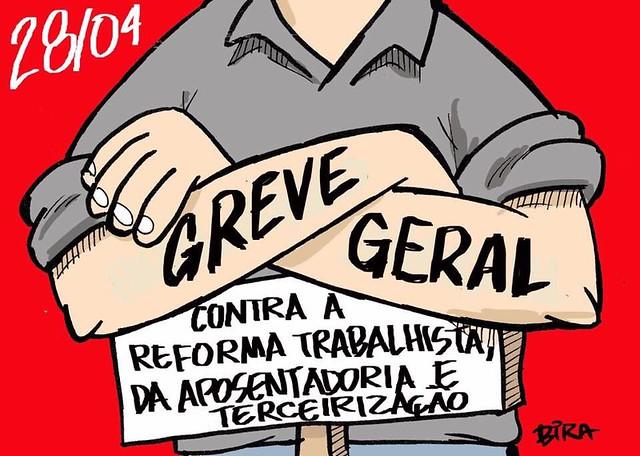 Centrais sindicais e frentes populares convocam uma paralisação para 28 de abril - Créditos: Bira