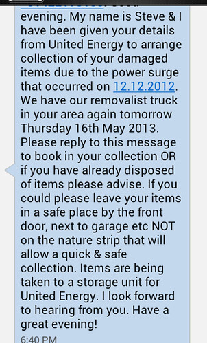 Possibly dodgy text from an alleged United Energy contractor