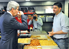 Secretary Kerry Enjoys a Coffee in Ramallah