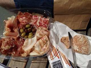 Charcuterie platter from Boccalone, bread from Acme