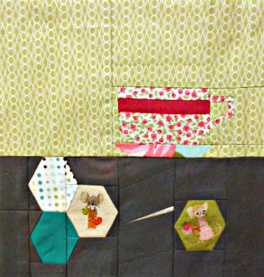 And Sew On June 2013 - hexies with tea cup