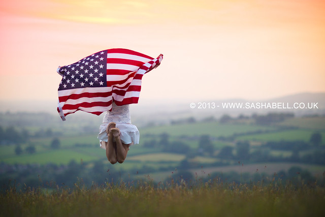 Jumping with the US Flag