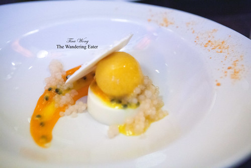 Coconut panna cotta, passion fruit sorbet, coconut meringue, lychee pearls, passion fruit carrot sauce, carrot powder