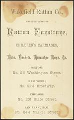 Wakefield Rattan Co., manufacturers of rattan furniture, children's carriages, mats, baskets, Kurrachee rugs, etc. (back)