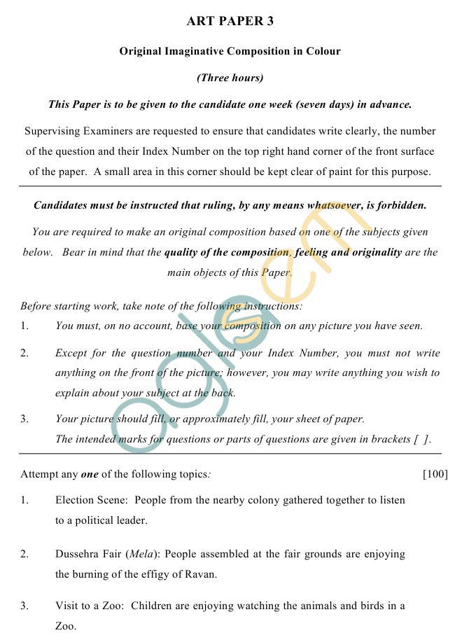 ICSE Class 10Art Sample Papers III