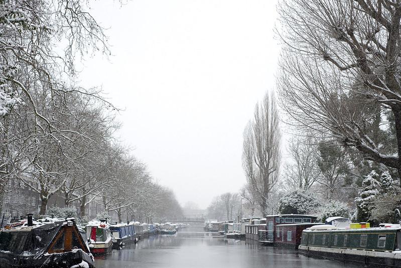 Snow in Little Venice, Maida Vale London
