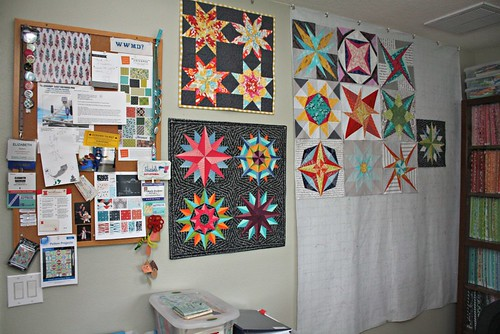 Design wall paired with my handy dandy bulletin board and a few favorite minis - top one made by Lee/Freshly Pieced, bottom one by me