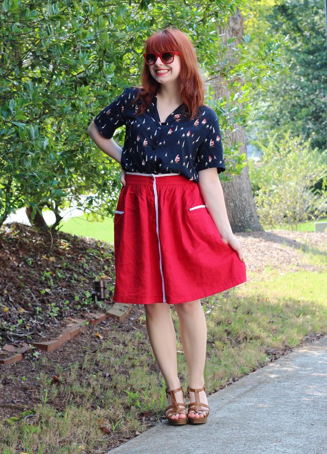 Navy Sail Boat Print Top, Red Linen Skirt, Wayfarer Sunglasses