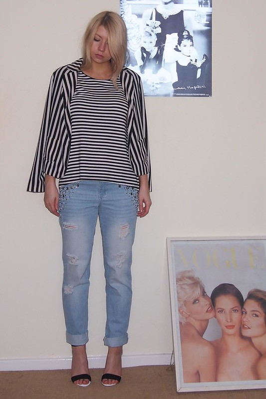 Sam Muses, UK Fashion Blog, London Style Blogger, How to Wear, Boyfriend Jeans, Primark, Embellished, Trophy, Distressed, Denim, SS13, High Summer 2013, Monochrome, Shoes, Strappy, Heels, Stripes, Striped, Blazer, Dorothy Perkins, Leather Sleeve, Tee, T-Shirt