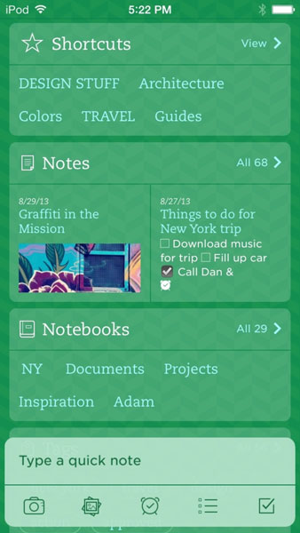Evernote для iOS 7