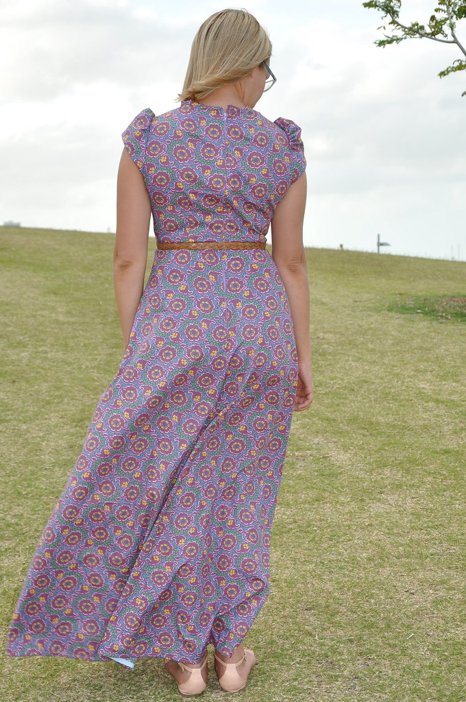 purple floral seventies 70s 1970s maxi dress summer full length style 1354 the fabric store