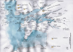 Kartenskizze, Gegend um Brest, Bretagne, Frankreich