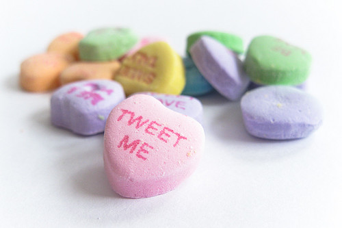 "Candy heart that says ""tweet me"" - no, really, tweet us."