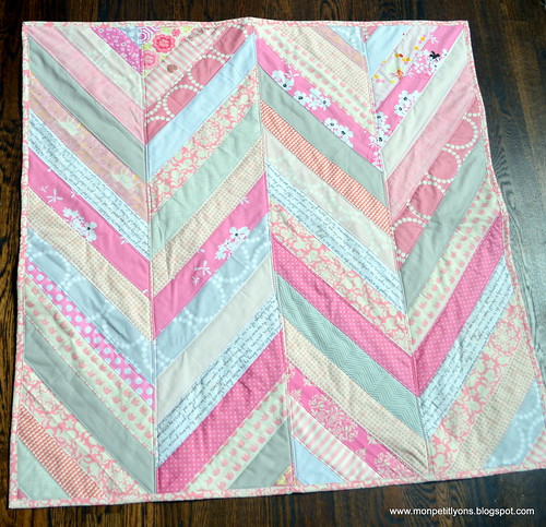 Pink and Gray herringbone