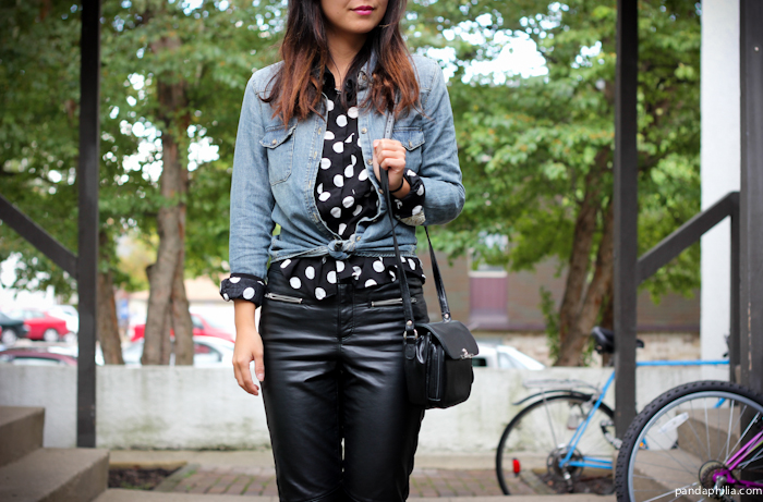 chambray, polka dots, leather pants