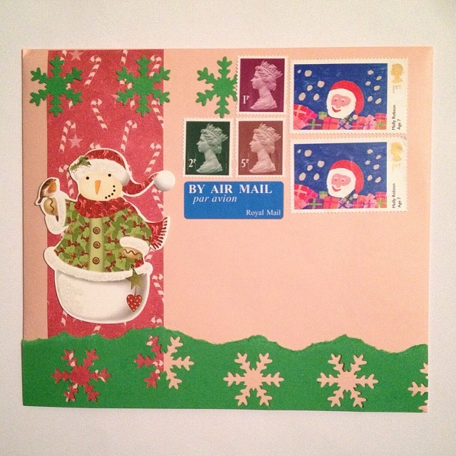 And another decorated envelope. I always worry about not having enough space for addresses. I've no idea why I didn't order some £1.28 stamps. I hope that the post office will have some. #envelope #snailmail #sendmoremail #mail #snailmailrevolution #snowm