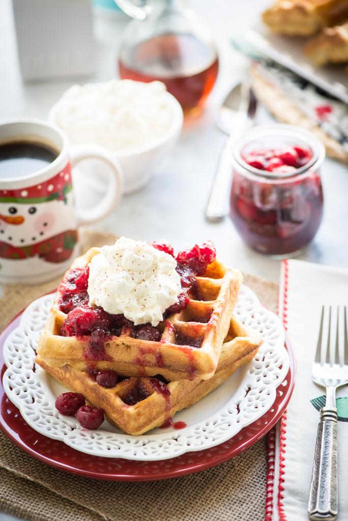 11490910163 1b3fb70cf8 b Gluten Free Eggnog Waffles with Warm Bourbon Cranberry Compote