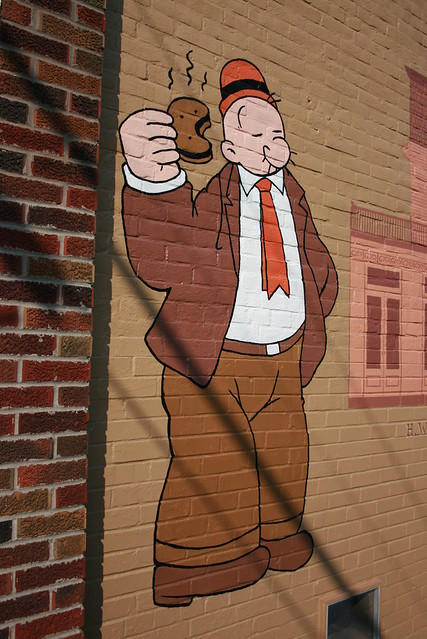 Popeye Mural in Chester, Illinois  shows Wimpy eating a hamburger
