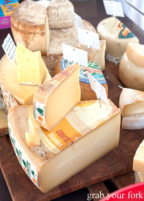 Comte cheese wheel at Frenchs Forest Organic Food Market