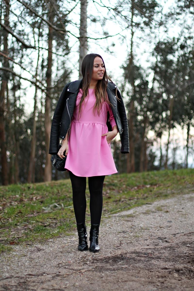 vestido, rosa, frontrow