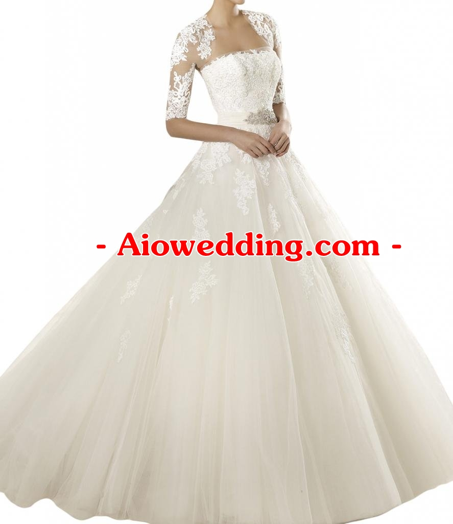 Gorgeous Bridal Elegant Half Sleeve Long Tulle Wedding Gown with Lace