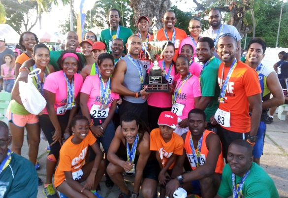 IslandFit Crew celebrating a victory at the Run Barbados Series