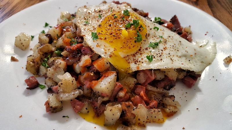 pastrami hash with a fried egg