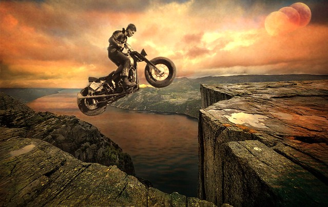 FLYING ON YOUR MOTORCYCLE WATCHING ALL THE GROUND BENEATH YOU DROP by KOTXETXE