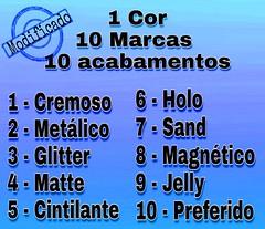 Desafio 1 Cor, 10 Marcas, 10 Acabamentos - Azul