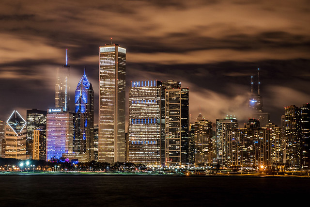 Foggy Chicago Skyline