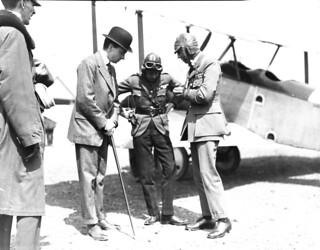 HRH the Prince of Wales and Lieutenant-Colonel W.G. Barker preparing for flight... / Son Altesse Royale le prince de Galles et le lieutenant-colonel W.G. Barker se préparant pour un vol...
