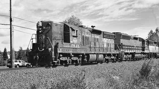 Portland and Western Freight Train Black and White