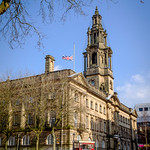 Preston City Hall with flag at half mast.