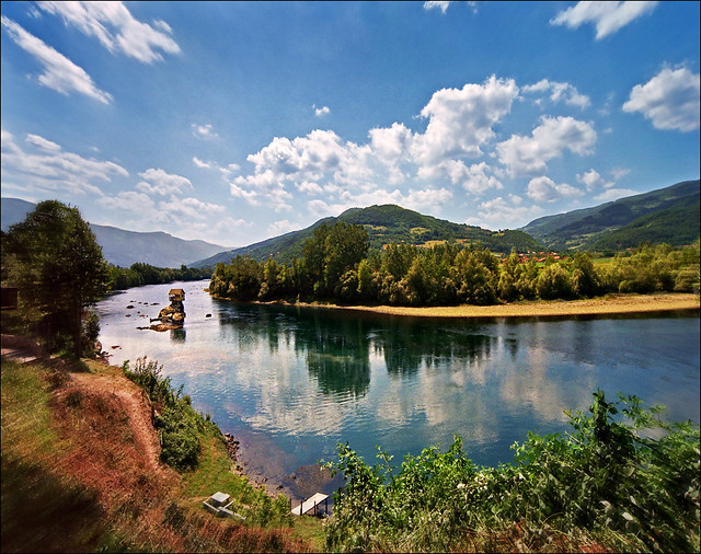 Summer landscape-House in the middle of Drina River near the town of Bajina Basta, Serbia.