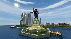 In honor of Minecraft's fourth birthday, here's Notch as the Statue of Liberty - The Statue of Creativity!