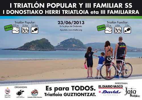 I Triatlón popular y III triatlón familiar en Donosti. 23 de Junio del 2012