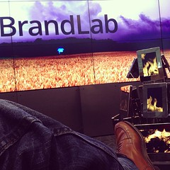 Warming Alden ties by the digital fire inside Google BrandLab at YouTube headquarters.