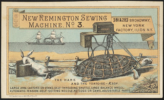 New Remington sewing machine no. 3. The easiest running machine in the world. The hare and the tortoise - Aesop (front)