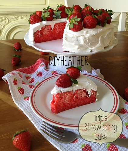 triple strawberry cake from box by Heather Says