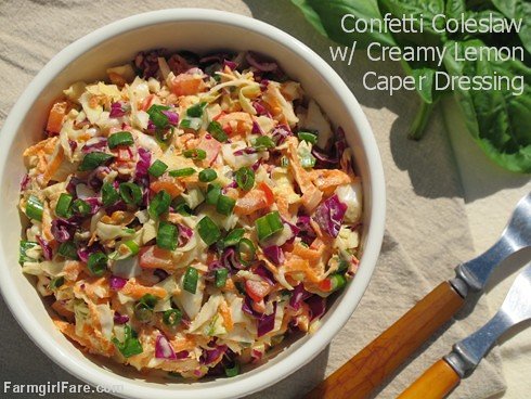 Confetti Crunch Coleslaw Recipe with Creamy Lemon Caper Dressing (2) - FarmgirlFare.com
