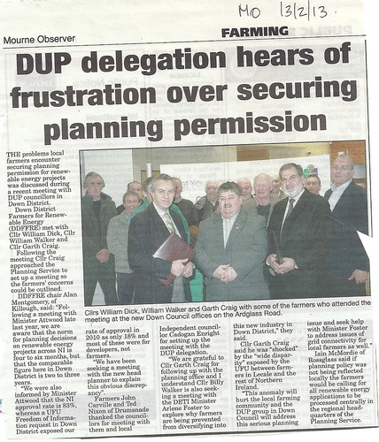 13th Feb 2013 working with the DUP to help farmers
