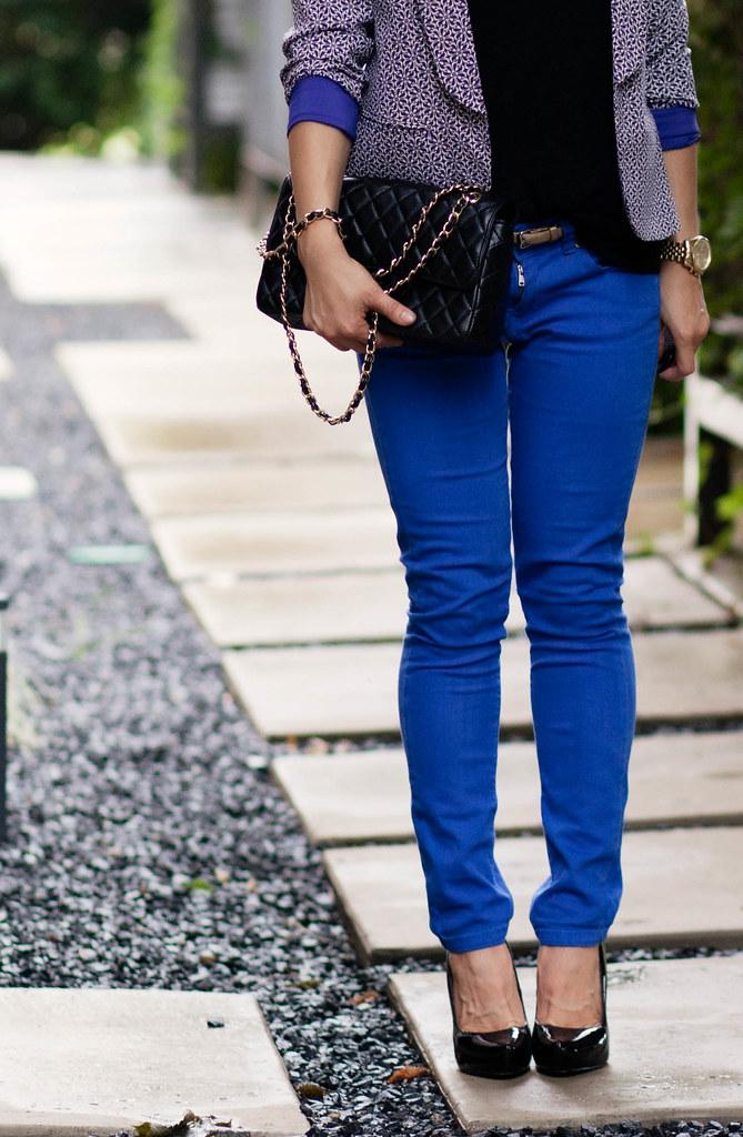 printed blazer + cobalt jeans