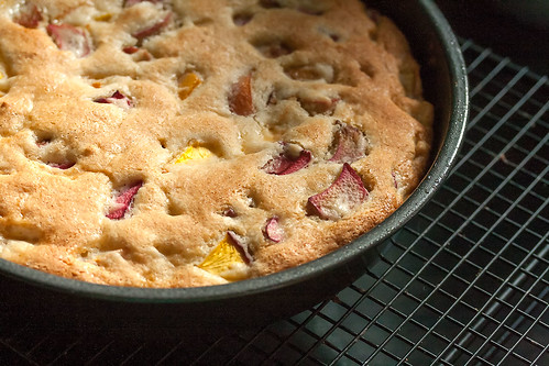 Easy Peach Rhubarb Cake