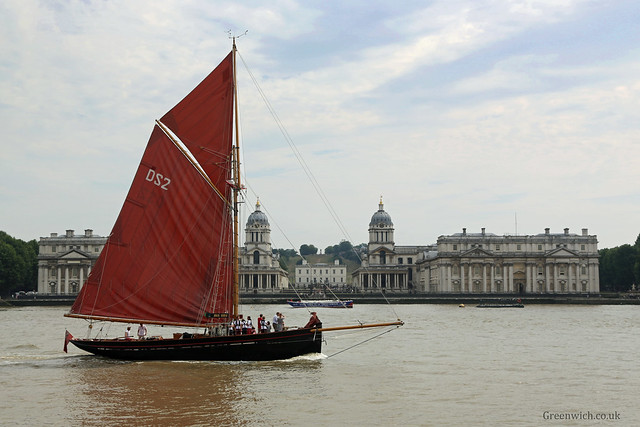 Jolie Brise passing the Old Royal Naval College